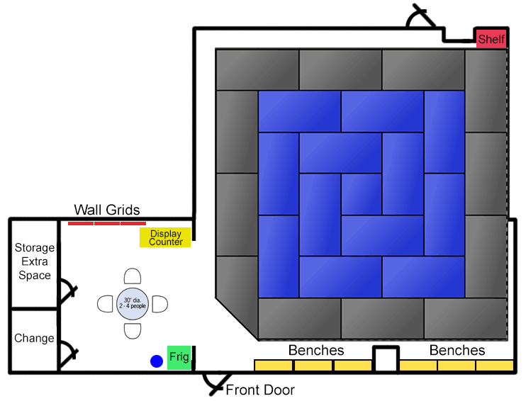 Floor Plan and mock up for mats and space.